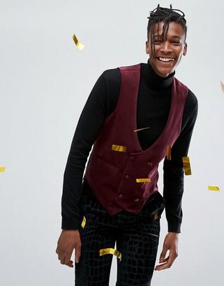 Asos Design DESIGN skinny waistcoat in burgundy velvet-Red