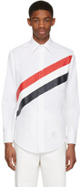 Thom Browne White Diagonal Stripe Classic Shirt