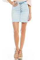 Celebrity Pink Exposed Button Frayed Hem Cutoff Stretch Distressed Denim Skirt