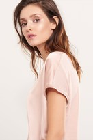 Dynamite Satin Tee with Knit Back