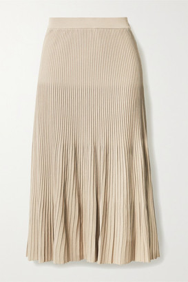 MICHAEL Michael Kors Pleated Stretch-knit Midi Skirt - Beige