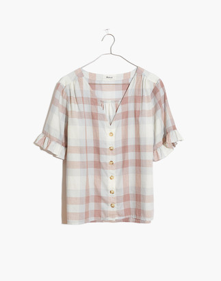 Madewell Village Ruffle-Sleeve Shirt in Plaid