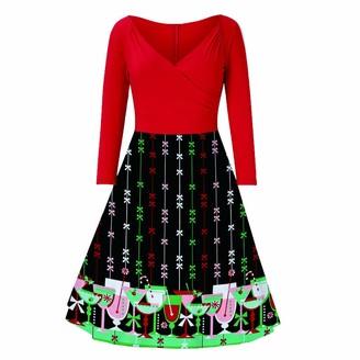 Beetlenew Womens Dress Women Dress Christmas Cute Wine Glass Print A-Line Flared Dresses Vintage Long Sleeve High Waist Zipper Retro Gown V-Neck Slim Swing Cocktail Frock Casual Xmas Evening Prom Full-Dress