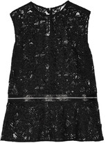 McQ by Alexander McQueen Zip-detailed guipure lace peplum top