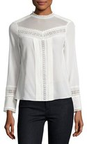 Rebecca Taylor Lace-Trim Long-Sleeve Silk Top, White