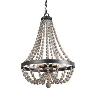 Dakota Fields 6 - Light Unique Empire Chandelier with Beaded Accents