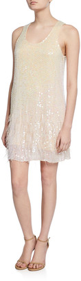 Parker Black Hope Sleeveless Beaded Shift Dress with Feathers