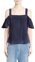 Robert Rodriguez Women's Suede Cold Shoulder Top