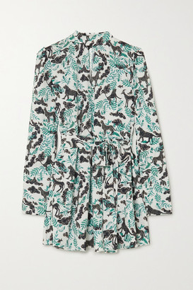 Saloni Tania Belted Printed Jacquard Mini Dress - Green