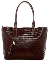 Cole Haan Celia Medium Woven Leather Top Zip Tote Bag