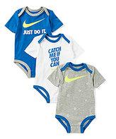 Nike Baby Boys Newborn-12 Months 3-Pack Bodysuit Set