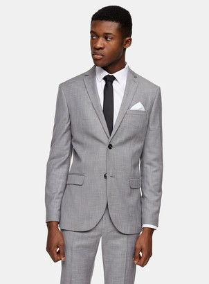 Topman Grey Skinny Fit Single Breasted Suit Blazer With Notch Lapels