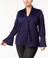 Melissa McCarthy Trendy Plus Size Tie-Front Top