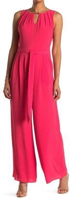 Donna Ricco Keyhole Belted Jumpsuit