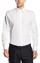 Bugatti Men's Regular fit Long Sleeve Formal Shirt - White