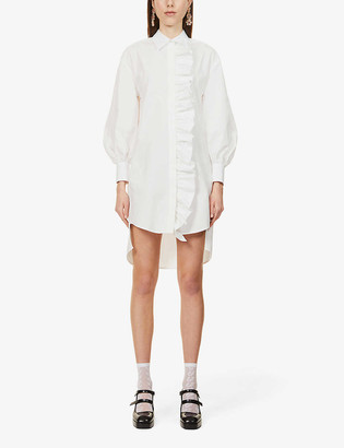 MSGM Ruffle-trim cotton-poplin shirt dress