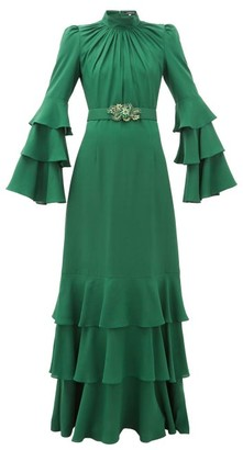 Andrew Gn Gathered-neck Belted Silk-crepe Gown - Dark Green