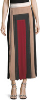 Valentino Contrast-Pleated Studded Maxi Skirt