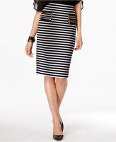 Grace Elements Striped Zip-Pocket Pencil Skirt