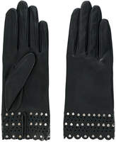 Agnelle laser cut studded gloves