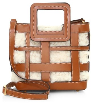 STAUD Mini Shirley Shearling-Lined Woven Leather Tote