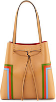 Tory Burch Block-T Striped Drawstring Tote Bag, Crema