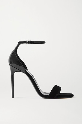 Saint Laurent Success Patent-leather And Velvet Sandals - Black