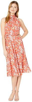 Adrianna Papell Tea Time Floral Halter Bias Dress (Coral Multi) Women's Dress