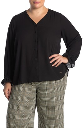 T Tahari Button Front Ruffle Cuff Blouse (Plus Size)
