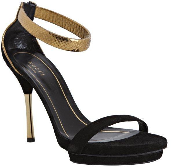 Gucci black suede snakeskin ankle strap sandals