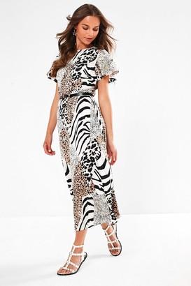 Iclothing Morrisey Midi Dress in White Animal Print