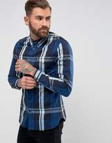 Fred Perry Twill Check Shirt in Navy