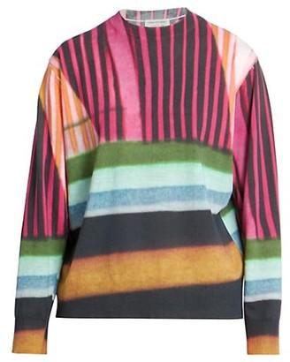 Dries Van Noten Colorblock Abstract Stripe Sweater
