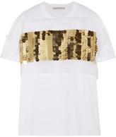 Christopher Kane Embellished Silk-chiffon And Cotton-jersey T-shirt - White