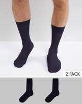 Asos Smart Socks In Navy Shiny Rib 2 Pack