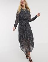 AllSaints valeria waterleo high neck leopard print midi dress