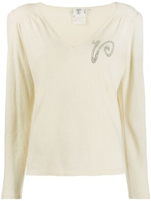 Valentino Pre Owned 1980s Rhinestone Logo Knitted Blouse