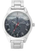 Zoo York Mens Silvertone Graphic Bracelet Watch