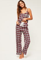Missguided Red Checked Cami Pyjama Set