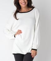 Yuka Paris Ivory & Black Mia Long Sweater