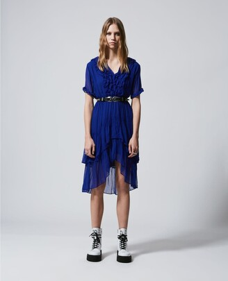 The Kooples Blue long flowing dress with V-neck & frills