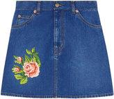 Gucci embroidered denim mini skirt - women - Cotton - 40