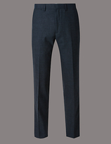 Autograph Blue Textured Tailored Fit Wool Trousers