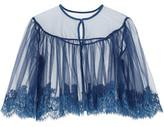 I.D. Sarrieri Jamais Le Premier Soir Chantilly Lace-Trimmed Stretch-Tulle Bed Jacket