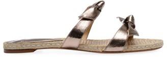 Alexandre Birman Clarita Bow Metallic Leather Flat Sandals