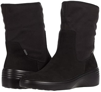 Ecco Soft 7 Wedge Mid GORE-TEX(r) Boot (Black/Black) Women's Shoes