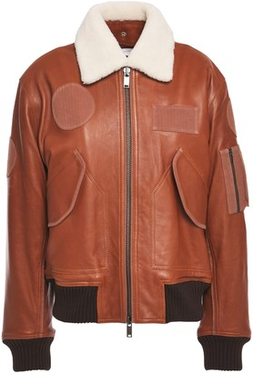 Victoria Victoria Beckham Victoria, Victoria Beckham Shearling-lined Suede-appliqued Faux Fur-trimmed Leather Jacket