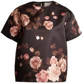 Rochas Rose-print satin top