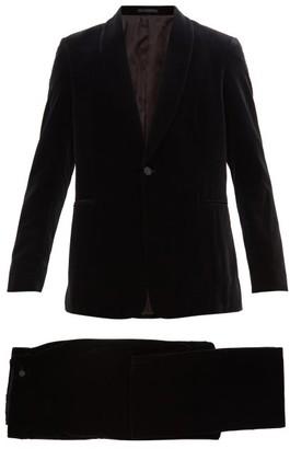 The Row Alec Single-breasted Cotton-velvet Tuxedo Suit - Mens - Black