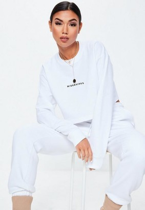 Missguided Petite White Crop Sweatshirt